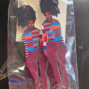 African American Black Woman Jeans Wooden Earrings